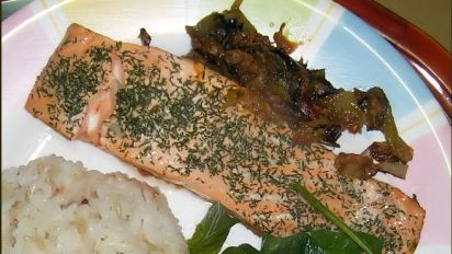 Braised Salmon with Leeks and Dill