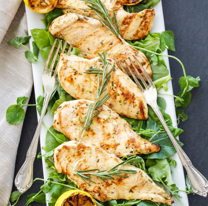 Grilled Chicken with Rosemary, Lemon and Mustard Marinade