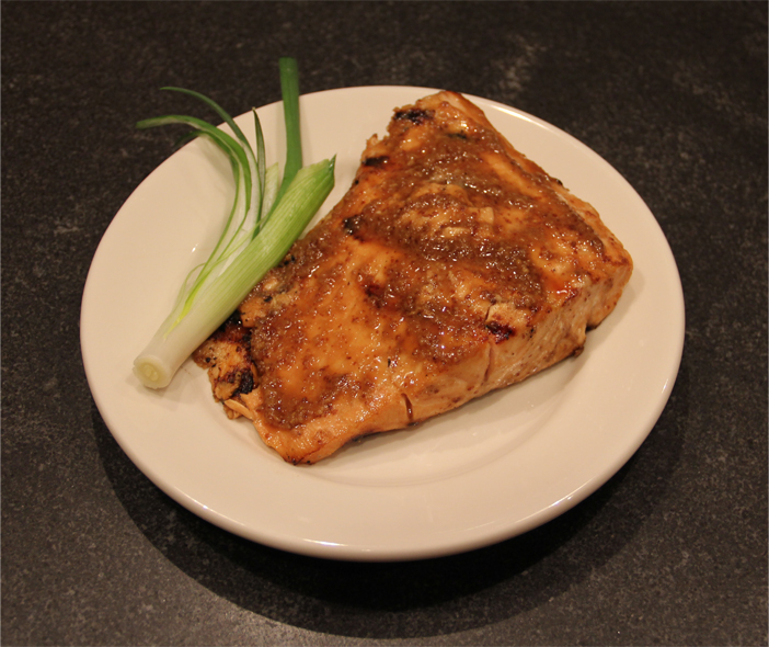 Grilled Salmon with Ginger Orange Mustard Topping