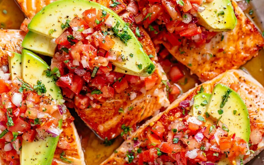 Peppered Salmon Fillet with Minted Tomato Salsa